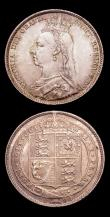 London Coins : A153 : Lot 2296 : Shillings (2) 1889 Large Jubilee Head ESC 1355 Davies 986 dies 2D UNC and lustrous with some contact...