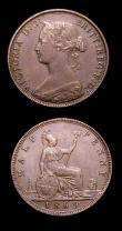 London Coins : A153 : Lot 3067 : Halfpennies (2) 1845 Peck 1529 better than VG with all major details clear, Very rare in any grade, ...