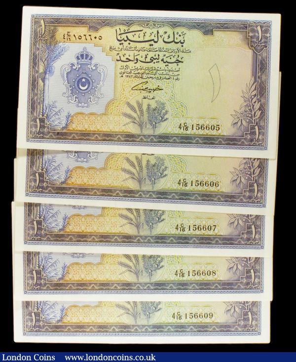 Libya 1 pound Law 1963 (5) a consecutively numbered run series C/16 156605 to C/16 156609, Pick25, lightly pressed, GEF to almost UNC : World Banknotes : Auction 154 : Lot 226