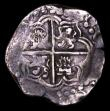 London Coins : A154 : Lot 747 : Bolivia 8 Reales Cob 17th Century Potosi VG with much of the design clear, legend off flan