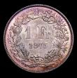 London Coins : A154 : Lot 946 : Switzerland One Franc 1875B KM# Choice UNC with a glorious and colourful tone, very rare in this gra...