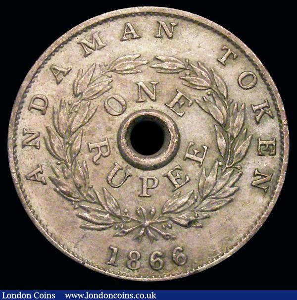 Andaman Islands One Rupee Token 1866 KM#Tn2 EF silvered, weight 9.14 grammes, noted by 'British Commonwealth Coins' by Remick/James/Dowle/Finn as being 'the rarest British Commonwealth coins' and records only 5 examples having been sold between the publications of the second and third editions between 1969 and 1971, Internet research has not revealed any past auction results for the pieces dated 1866  : World Coins : Auction 156 : Lot 1049