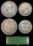 London Coins : A156 : Lot 2407 : Maundy Set 1849 ESC 2459 A/UNC to UNC with an attractive matching tone, the Threepence with a tone l...