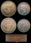 London Coins : A156 : Lot 2431 : Maundy Set 1873 ESC 2486 A/UNC to UNC with a deep and matching tone, the Twopence and Penny with sma...