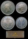 London Coins : A156 : Lot 2434 : Maundy Set 1876 ESC 2489 A/UNC to UNC with a matching grey tone, come with a maroon dated 'Maun...