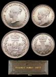 London Coins : A156 : Lot 2438 : Maundy Set 1880 ESC 2494 A/UNC to UNC and lustrous, nicely matching, the Threepence and Twopence wit...