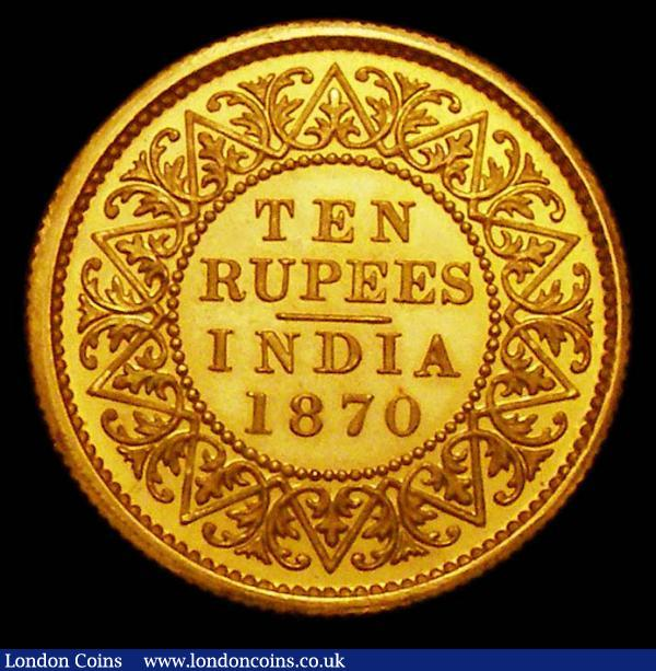 India Ten Rupees 1870 Gold Proof FDC KM479 Calcutta Mint in the original H.M.'s Mint, Calcutta envelope : World Coins : Auction 157 : Lot 1480