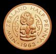 London Coins : A158 : Lot 1256 : New Zealand Halfpenny 1963 VIP Proof/Proof of record KM#23.2 nFDC lightly toned, retaining almost fu...