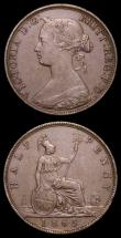 London Coins : A158 : Lot 3295 : Halfpennies (2) 1858 Small Date Peck 1549 EF with traces of lustre, 1865 5 over 3 Freeman 297 dies 7...