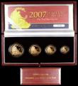 London Coins : A159 : Lot 7 : Britannia Gold Proof Set 2007 Four coin set nFDC in the case of issue with certificate