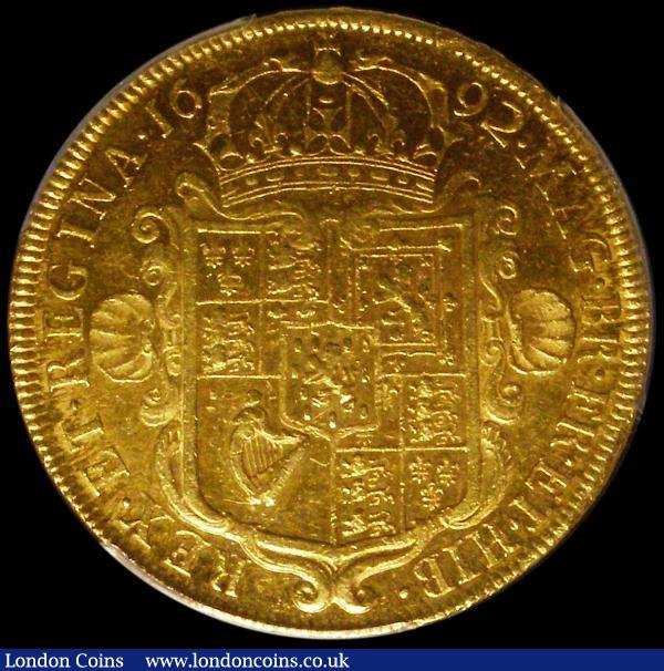 Five Guineas 1692 QVINTO edge S.3422 in a PCGS holder graded AU53  : English Coins : Auction 159 : Lot 761
