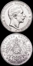 London Coins : A160 : Lot 1094 : German States - Prussia 5 Marks 1907A KM#523 EF and lustrous, 3 Marks 1912A KM#527 GEF/AU and lustro...