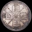 London Coins : A160 : Lot 2110 : Florin 1887 Jubilee Head Proof ESC 869 Davies 810P dies 1A GEF toned with some contact marks