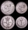 London Coins : A160 : Lot 2316 : Maundy Set 1849 ESC 2459, Bull 3492 EF to A/UNC, the Threepence toned on the obverse