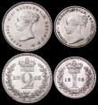 London Coins : A160 : Lot 2322 : Maundy Set 1865 ESC 2476, Bull 3513 EF to UNC, the Threepence with some edge nicks, the Twopence wit...