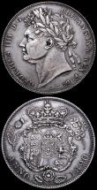 London Coins : A160 : Lot 2946 : Halfcrown 1820 George V ESC 628, Bull 2357 VF cleaned with some scratches on the bust, Crown 1935 ES...