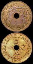 London Coins : A160 : Lot 3230 : French Indo-China One Cent (2) 1896A KM#1 UNC with an attractive and colourful tone, 1903A KM#8 UNC ...