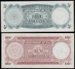 London Coins : A160 : Lot 329 : Fiji (2), 10 Shillings dated 28th April 1961 series C/3 22685, (Pick529), 5 Shillings dated 28th Apr...