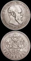 London Coins : A161 : Lot 1333 : Russia One Rouble (2) 1893 AΓ Y #46 Fine with some thin scratches on the obverse, Rare, 1892 A...