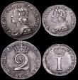 London Coins : A161 : Lot 1786 : Maundy Set 1746 ESC 2410, Bull 1773, comprising Fourpence ESC 1906, Bull 1785, Threepence ESC 2031, ...