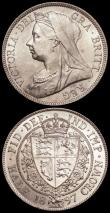 London Coins : A161 : Lot 2851 : Halfcrowns (2) 1897 ESC 731, Bull 2783 A/UNC and lustrous with a scuff on the portrait, 1900 ESC 734...