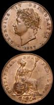 London Coins : A161 : Lot 2853 : Halfpennies (2) 1773 Peck 904 About EF with light surface deposit on the portrait, 1827 Peck 1438 EF...