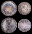 London Coins : A161 : Lot 2860 : Maundy Odds (4) Threepences (2) 1762 ESC 2033, EF Toned and VF/GVF, Twopence 1800 ESC 2421, VF/NEF, ...