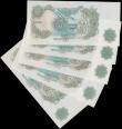 "London Coins : A161 : Lot 71 : One Pound Fforde (5) B304 & B308 issued 1967, all ""G"" reverse REPLACEMENT notes, (Pick..."