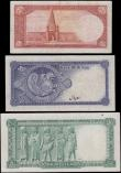 London Coins : A163 : Lot 1486 : Iran (3), 5 Rials issued 1944, (Pick39), pressed good Fine, 10 Rials issued 1948, (Pick47), pressed ...