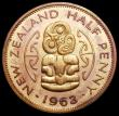 London Coins : A164 : Lot 471 : New Zealand Halfpenny 1963 VIP Proof/Proof of record KM#23.2 UNC and lightly toned, retaining much o...