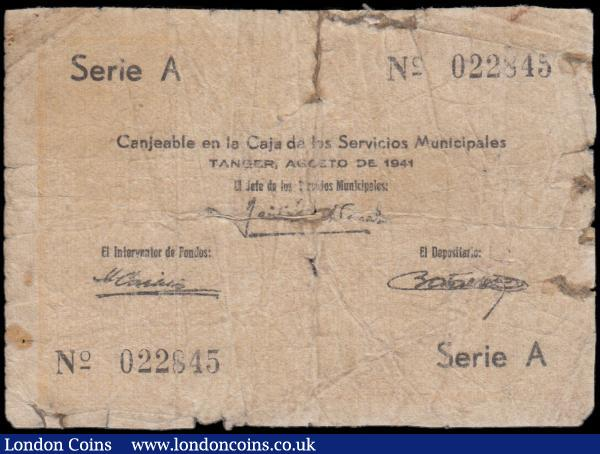 Tangier Servicios Munisipales, Spanish Occupation 2 Francos 1942 Pick 4 Prized Two Francos Servicios Municipales Spanish Occupation Note. The highest denomination for the issuer. The note is priced only to the Fine grade in the current SCWPM with a price of $1500 Good and Exceptionally Scarce. : World Banknotes : Auction 165 : Lot 1268