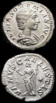 London Coins : A165 : Lot 2040 : Roman Denarii (2) Plautilla (198-211AD) Obverse: Bust right, draped PLAVTILLAE  AVGVSTA, Reverse: Pl...
