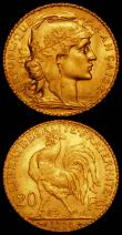 London Coins : A165 : Lot 2155 : France 20 Francs Gold (2) 1910 KM#857, 1914 KM#857 both UNC and lustrous
