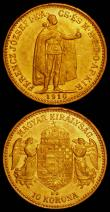 London Coins : A165 : Lot 2195 : Hungary (2) 20 Korona Gold 1895KB KM#486 UNC and lustrous with some contact marks and small rim nick...