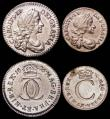 London Coins : A165 : Lot 2783 : Maundy Set 1676 ESC 2372, Bull 599, Fourpence with last 6 over 8 and unlisted VF, Threepence NEF/GVF...