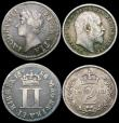London Coins : A165 : Lot 3899 : Maundy Odds (4) Threepences (2) 1707 ESC 2010, Bull 1499 VF/GVF, 1762 ESC 2033, Bull 2254 VF with so...