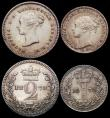 London Coins : A165 : Lot 3901 : Maundy Set 1878 ESC 2491, Bull 3531 EF to A/UNC the Penny and Threepence with some contact marks and...