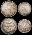 London Coins : A165 : Lot 3905 : Maundy Set 1889 ESC 2504, Bull 3547 NEF to GEF with some hairlines, the Threepence possibly a curren...