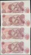 London Coins : A165 : Lot 403 : Ten Shillings Hollom QE2 portrait & seated Britannia Red/Brown 1963 issues (4) comprising B294 s...