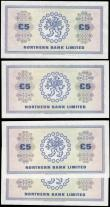 London Coins : A165 : Lot 702 : Northern Ireland Northern Bank Limited 5 Pounds dated 1st April 1982 signature Ervin Pick188d (4) co...