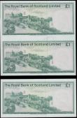 London Coins : A165 : Lot 811 : Scotland The Royal Bank of Scotland (2) a scarce FINAL PROOF an uncut sheet of 1 Pound notes (2) dat...
