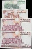London Coins : A165 : Lot 814 : Scotland The Royal Bank of Scotland all Mathrewson signatures 1990s issues (4) including 1 Pound dat...