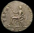 London Coins : A166 : Lot 1424 : Roman Brass Dupondius Trajan, Rome 101, Rev. Justitia std. l. on chair of crossed cornuacopiorum, (R...