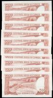 London Coins : A166 : Lot 177 : Cyprus Central Bank 500 Mils Pick 45 dated 1st June 1982 (10) a consecutively numbered run serial nu...