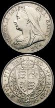 London Coins : A166 : Lot 1841 : Halfcrowns (2) 1895 ESC 729, Bull 2781, Davies 667 dies 2B GEF, 1897 ESC 731, Bull 2783 A/UNC and lu...