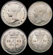 London Coins : A166 : Lot 1880 : Maundy Set 1843 ESC 2453, Bull 3486 EF to A/UNC the Fourpence with some hairlines,  the Threepence w...