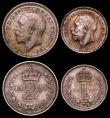 London Coins : A166 : Lot 1911 : Maundy Set 1921 ESC 2538, Bull 3981 GEF to UNC the Fourpence, Twopence and Penny with matching tone,...