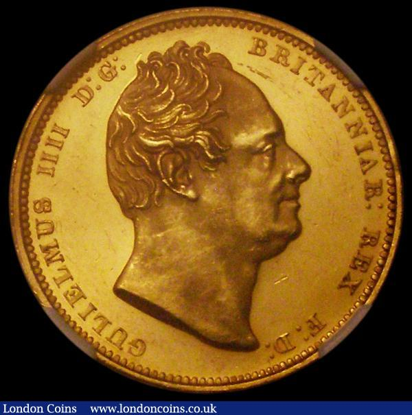 Two Pounds 1831 Gold Proof S.3828, in an NGC holder and graded PF61 Cameo, some hairlines in the fields, retaining much original colour and brilliance, with an extremely low mintage of just 225 pieces, this issue is extremely sought after and greatly prized, being the highest denomination coin in the Proof set of the year : English Coins : Auction 166 : Lot 2274