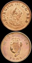 London Coins : A166 : Lot 2796 : Ireland Halfpenny 1805 S.6621 EF and lustrous, once cleaned, GB Penny 1826 Reverse A Peck 1422 VF cl...