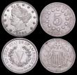 London Coins : A166 : Lot 2917 : USA (3) 5 Cents (2) 1868 Breen 2472 About VF with dull tone, 1883 without CENTS Breen 2529 A/UNC and...